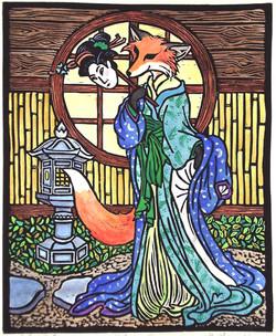 Kitsune linoblock print