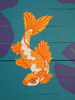 Koi pond floor mural