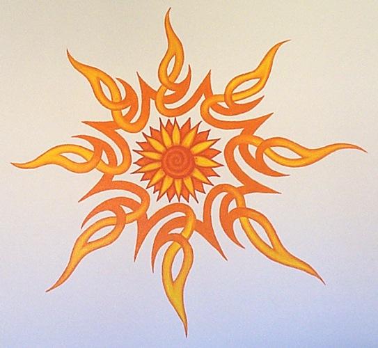 Stylized sun mural