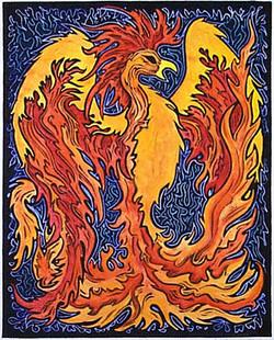 Phoenix linoblock print