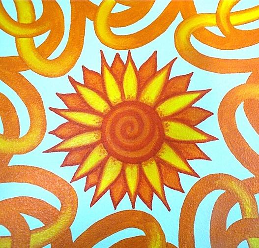 Stylized sun mural - detail