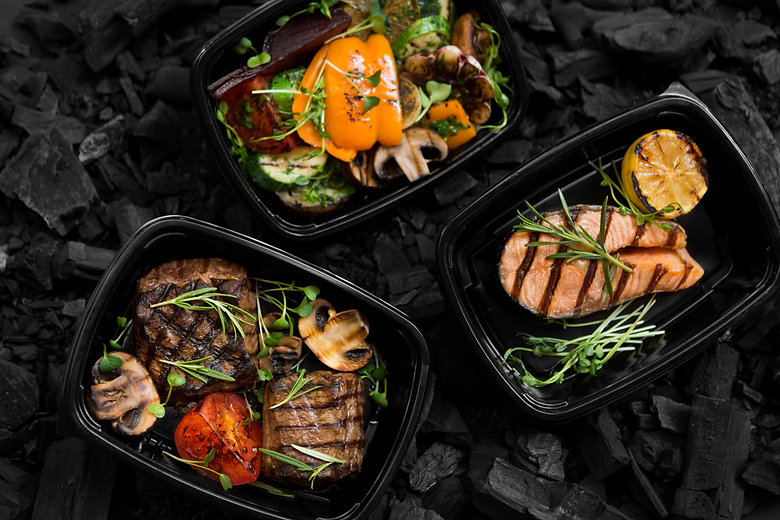 Top view of coal cooked healthy food in