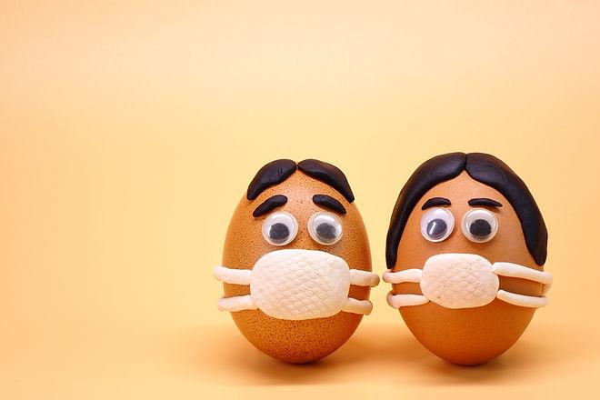 Easter eggs with Corona virus (COVID19)