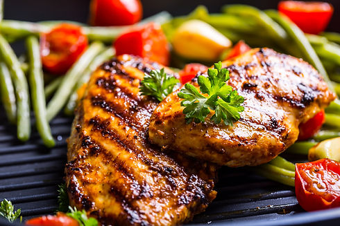 Grilled chicken breast in different vari