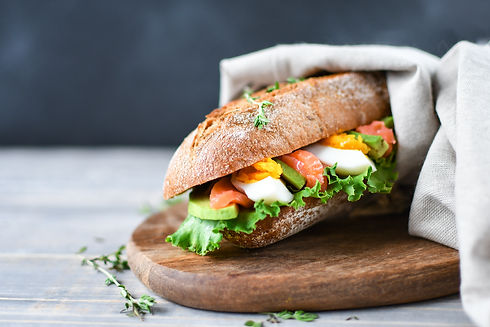 sandwich from a cereal baguette with avo