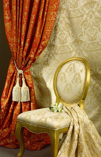 Luxury chair with beautiful curtain back