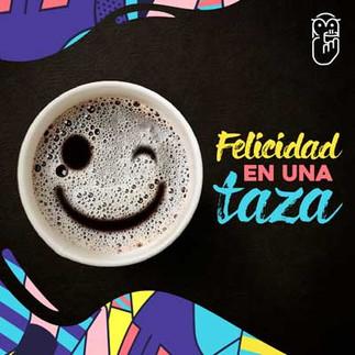 Gráfica Felicidad en una taza para Café Búho