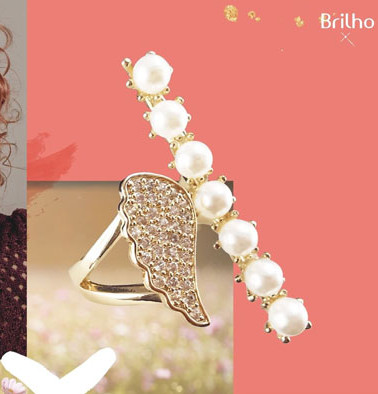 Gráfica de anillo enchapado en oro para Brilho