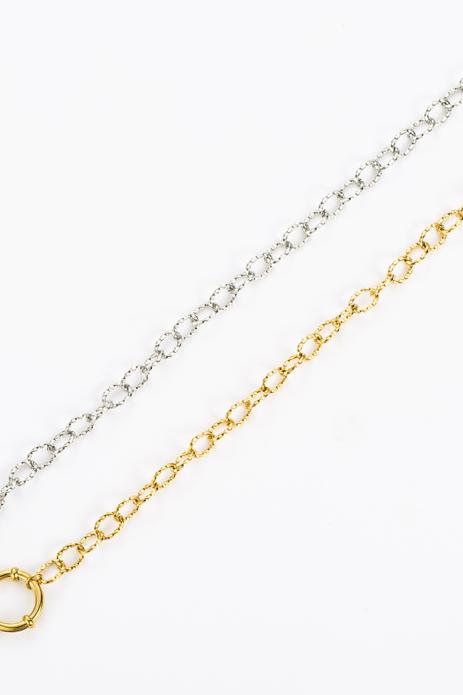 Bracelet chaîne martelé doré