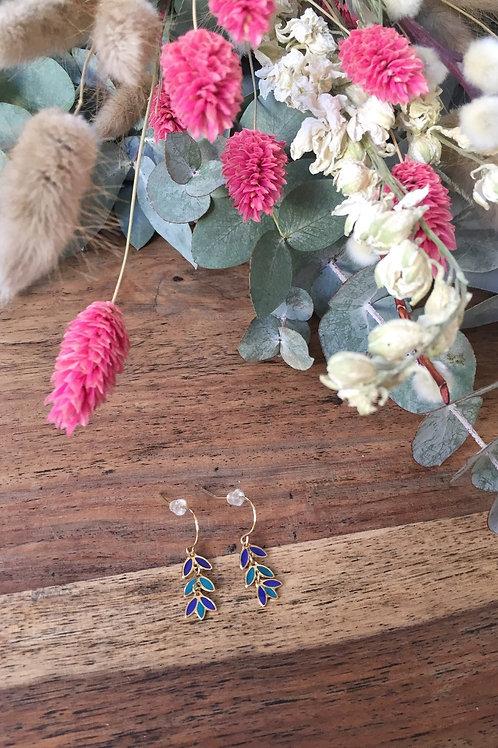 Boucles d'oreilles feuilles bleu