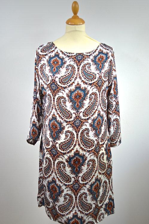 Robe droite motif ethnique camel