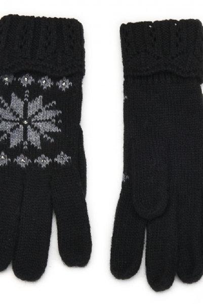 Gants motif flocon de neige noir