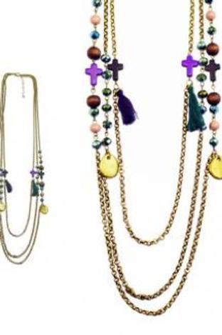 Sautoir en chaînes bronze et violet