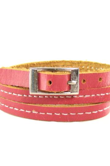 Bracelet cuir rose