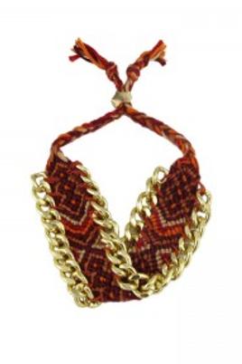Bracelet style brésilien rouge et doré