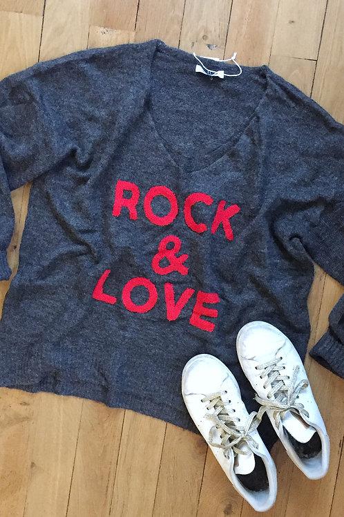 """Pull """"Rock & Love"""" gris foncé"""