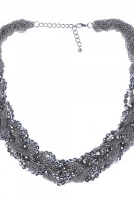 Collier tressé chaîne/perles argenté