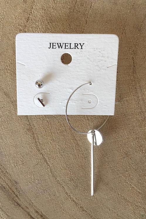 Boucles d'oreilles asymétrique argent