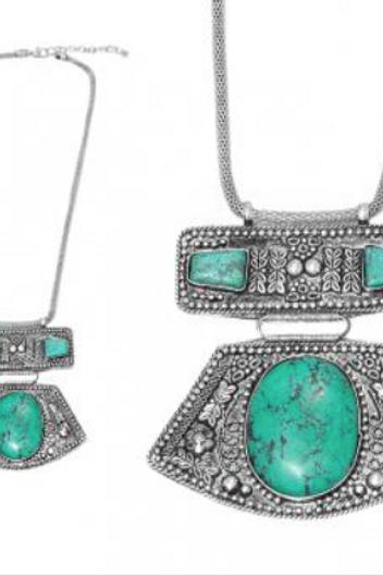 Collier long Ethnique en pierre turquoise