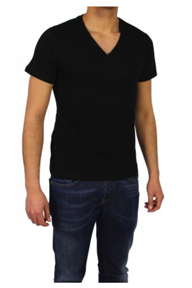 T-shirt basic col V noir