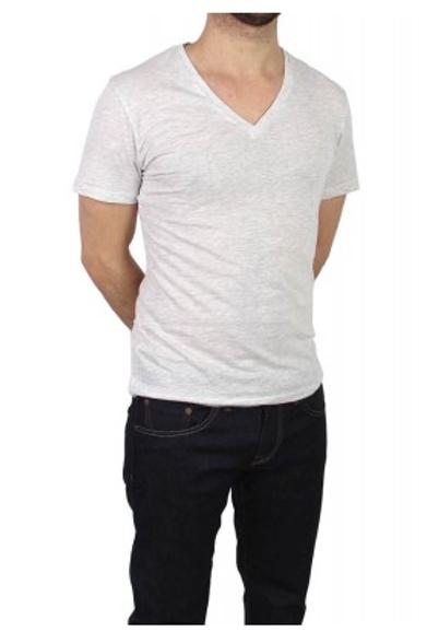 T-shirt basic col V gris clair