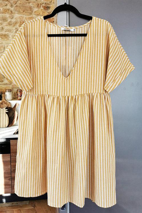 Robe babydoll moutarde