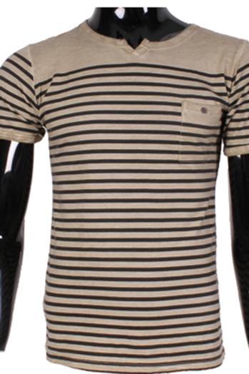 T-shirt col rond rayé beige