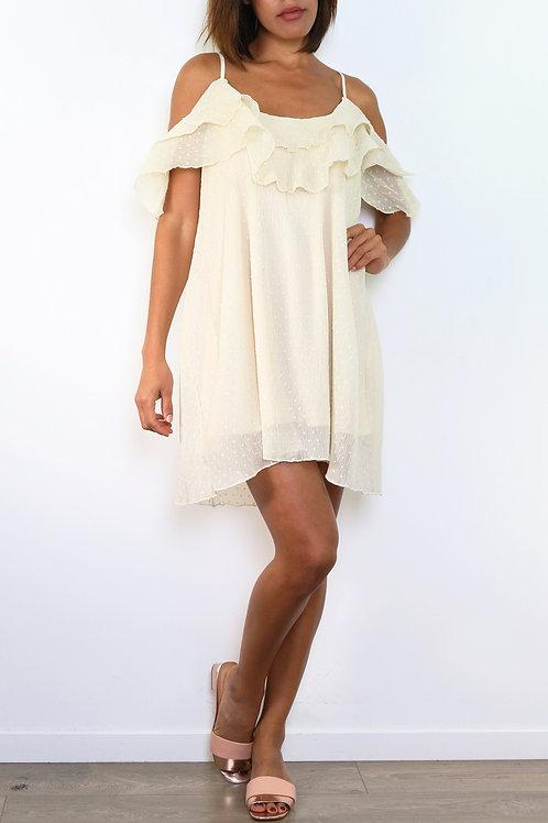 Robe plumetis beige