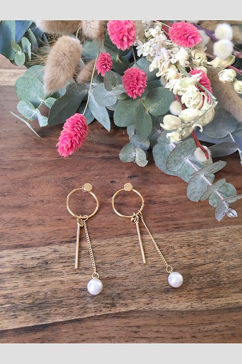 Boucles d'oreilles pendantes à perles