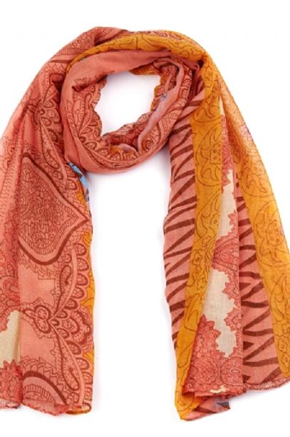 Foulard rose motif orange et bleu