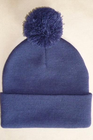 Bonnet bleu marine à pompon