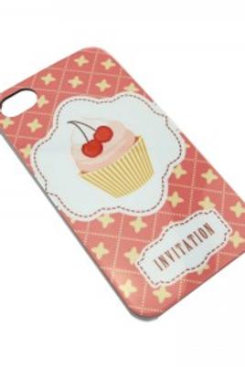 Coque à imprimé cupcake rose pour Iphone 4 4/S