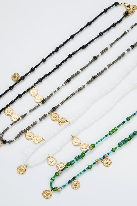 Collier perles noires et pampilles