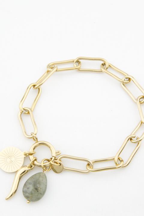 Bracelet chaîne et pierre grise