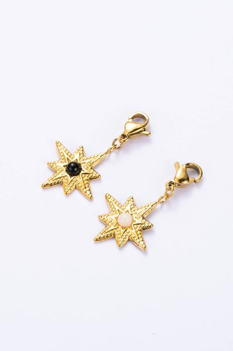 Charm étoile doré et blanc