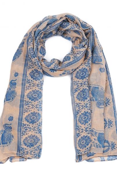 Foulard rose motifs indiens, éléphants