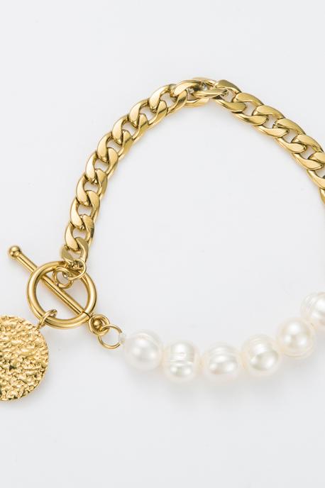 Bracelet chaîne et perle blanche