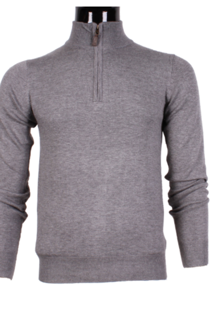 Pull zip à coudières gris