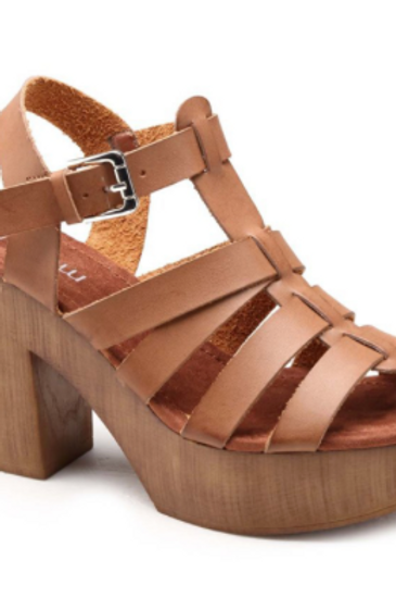 Sandales camel talon effet bois