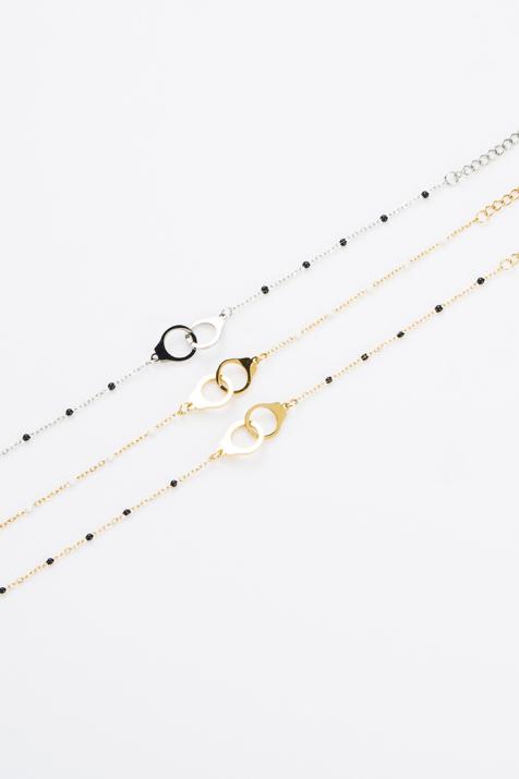 Bracelet anneau noir et doré