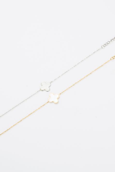 """Bracelet fin """"trèfle"""" blanc et doré"""