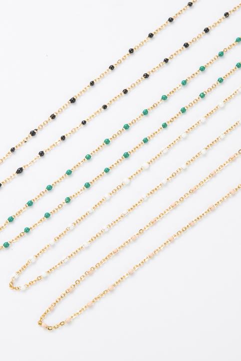 Collier fin perle noire et dorée
