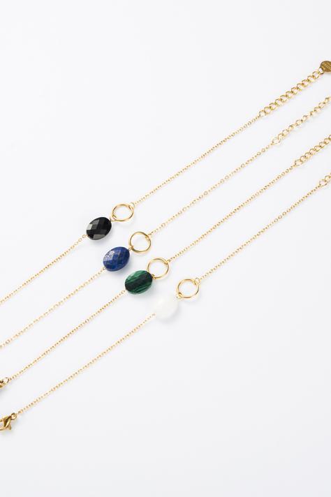 Bracelet fin pierre blanche et or