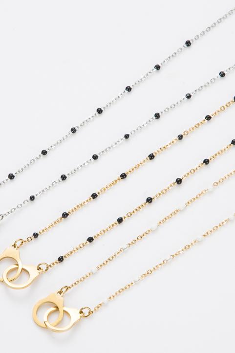 Collier anneau et perle noir et doré
