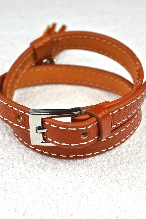 Bracelet à pompon en cuir camel