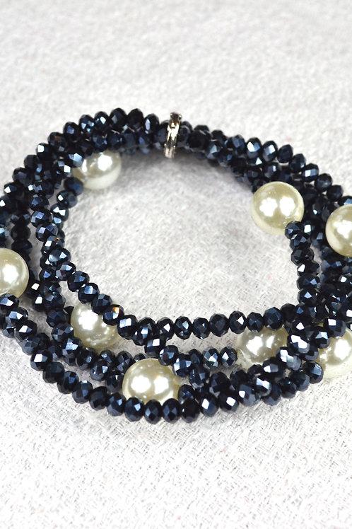 Multi-bracelets perles grises et perles blanches