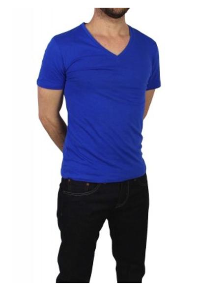 T-shirt basic col V bleu électrique