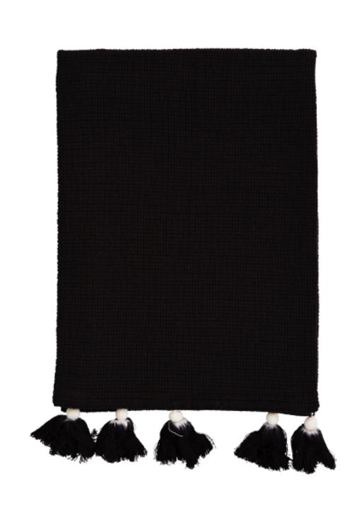Serviette pompons noir