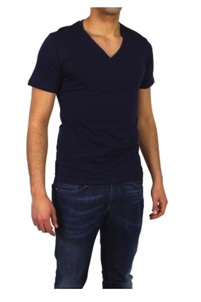 T-shirt basic col V bleu marine