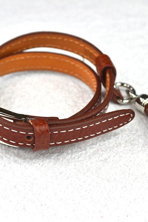 Bracelet à pompon en cuir marron